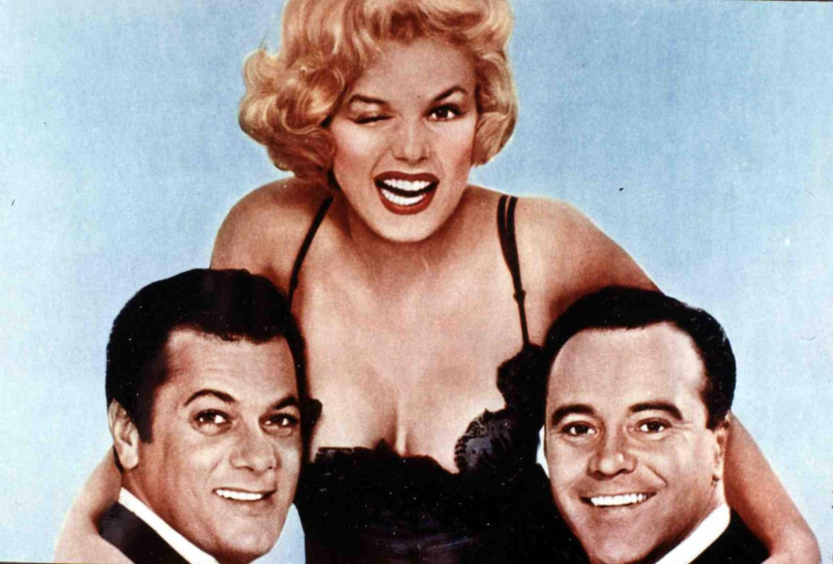 Tony Curtis, Marilyn Monroe, Jack Lemmon in promotional shots for 'Some Like it Hot'