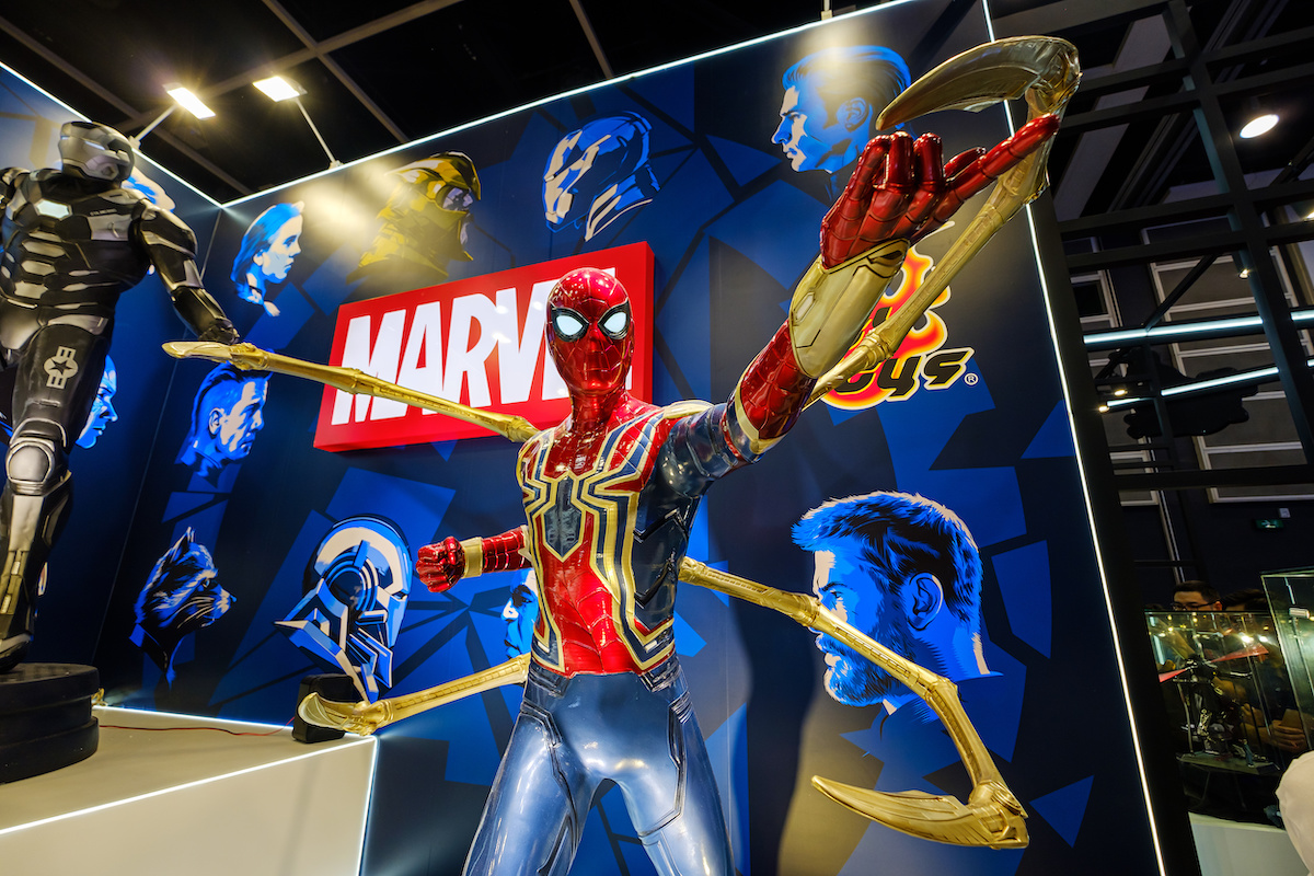 Marvel movie backdrop display with Spider-man replica at the Ani-Com & Games HK Exhibition event in Hong Kong