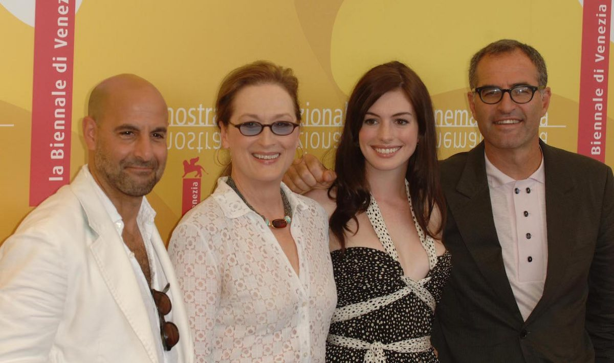 Stanley Tucci, Meryl Streep, Anne Hathaway, and David Frankel at the Venice Film Festival