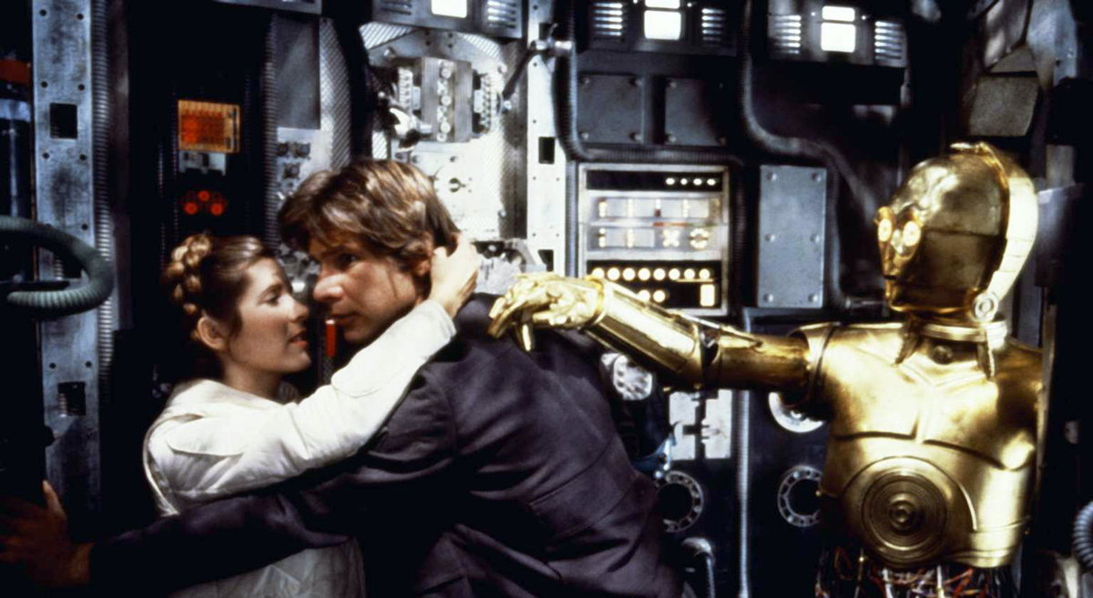 Carrie Fisher, Harrison Ford and Anthony Daniels