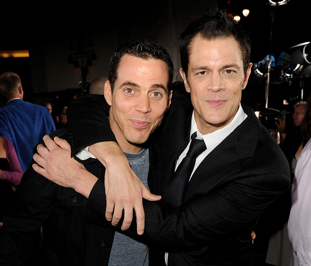 Steve-O and Johnny Knoxville at Jackass movie premiere