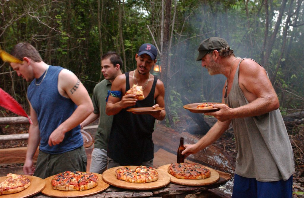 Rob Mariano and Tom Buchanan with their family members on 'Survivor'