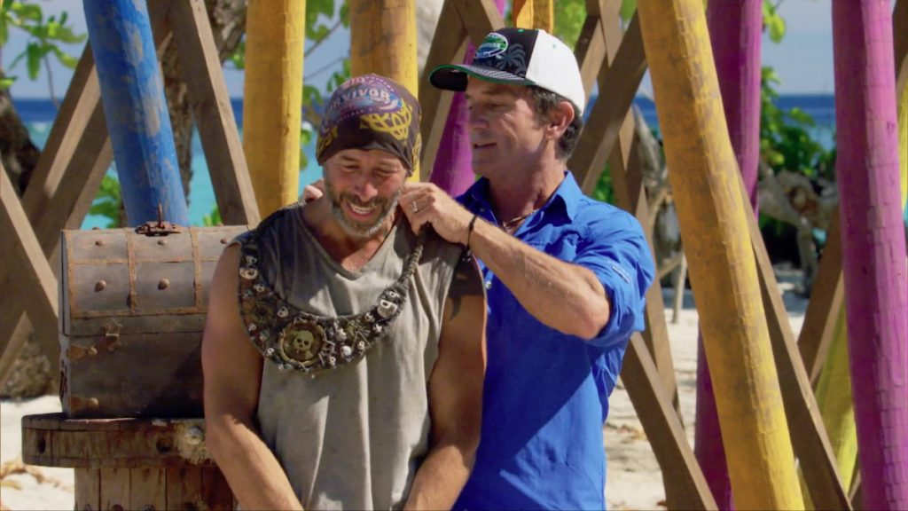 Jeff Probst awards Tony Vlachos with the Immunity Necklace on 'Survivor: Winners at War'