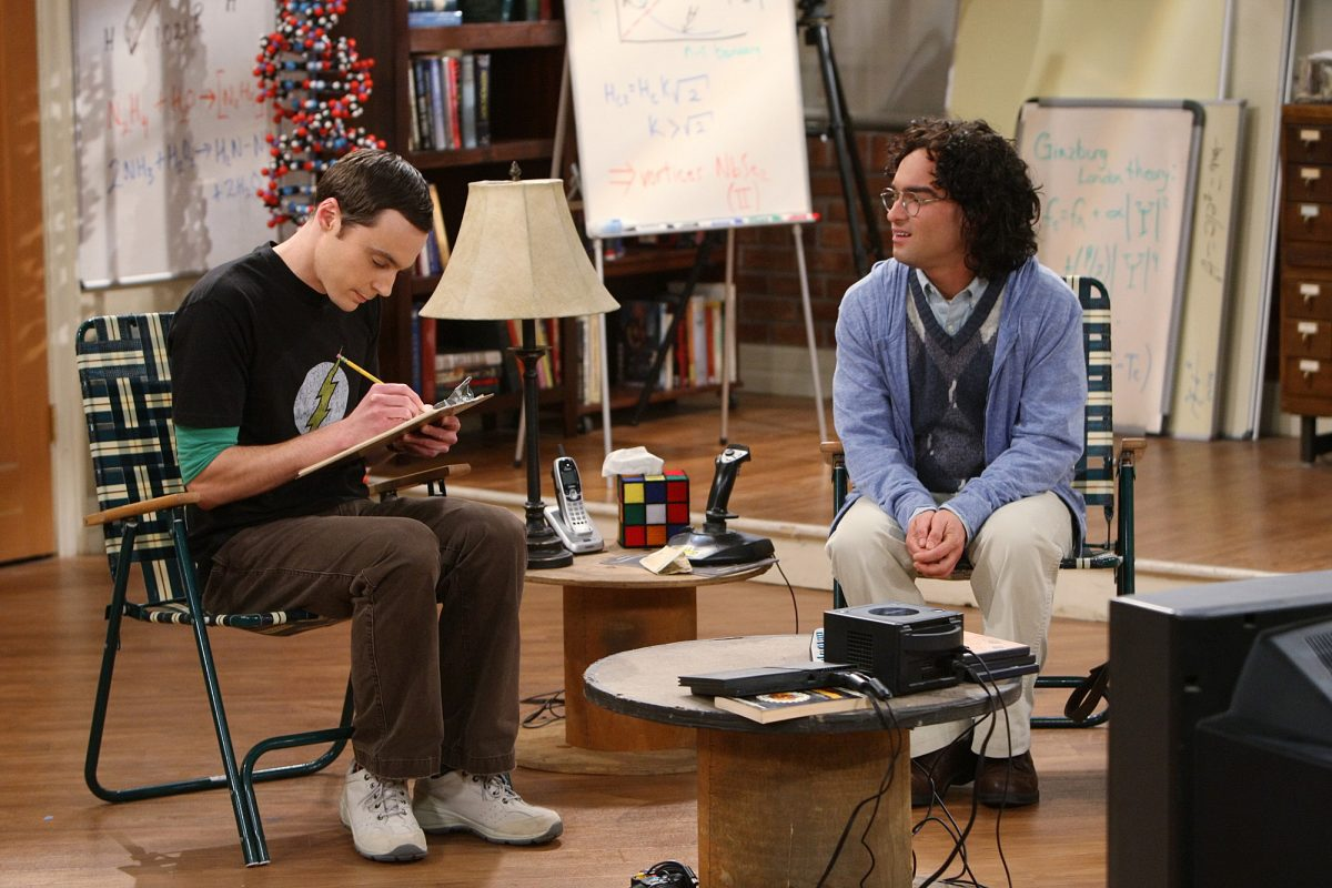 Sheldon Cooper and Leonard Hofstadter sit in their apartment in an episode of 'The Big Bang Theory'