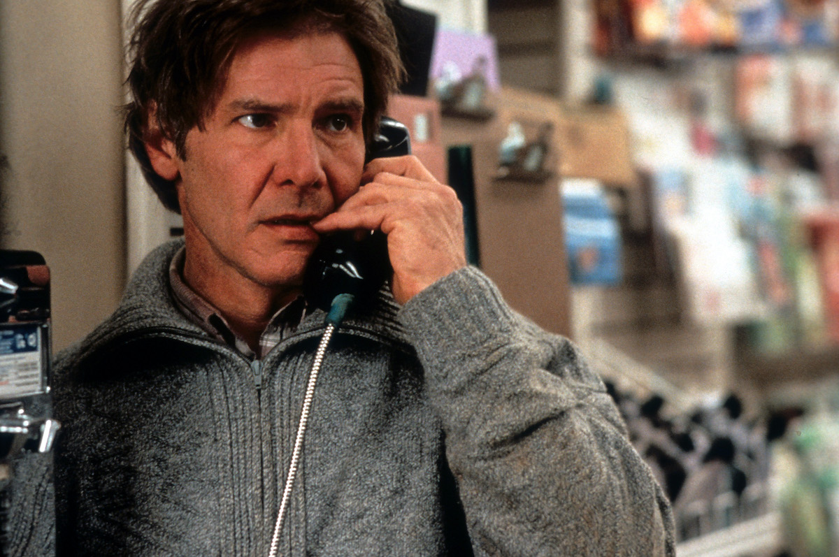 Harrison Ford on pay phone in a scene from the film 'The Fugitive'