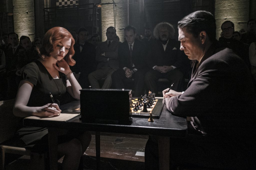 The Queen's Gambit (L to r) Anya Taylor-Joy as Beth Harmon and Marcin Dorocinski as Vasily Borgov