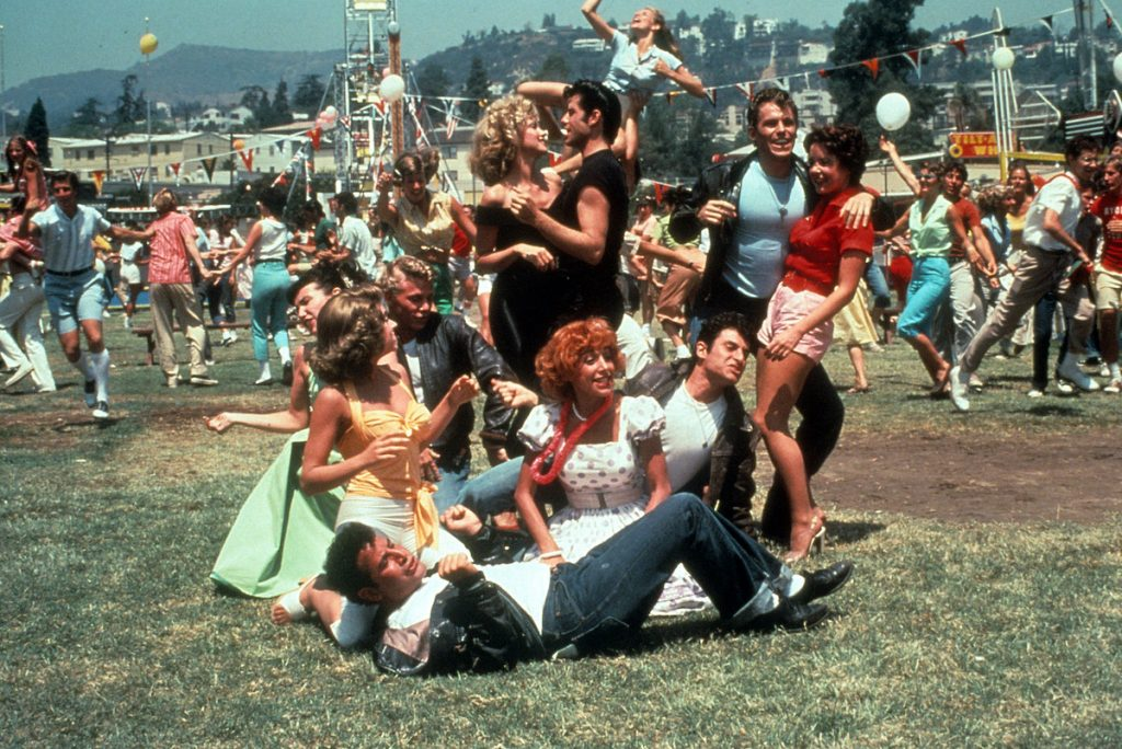 Olivia Newton-John, John Travolta and the rest of the cast from 'Grease'