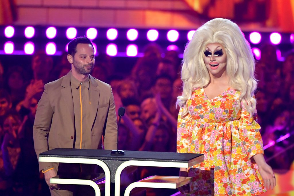 Nick Kroll and Trixie Mattel on stage during the 2019 MTV Movie and TV Awards