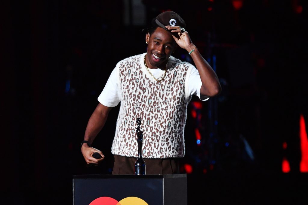 Tyler, The Creator accepts the International Male Solo Artist award during The BRIT Awards 2020