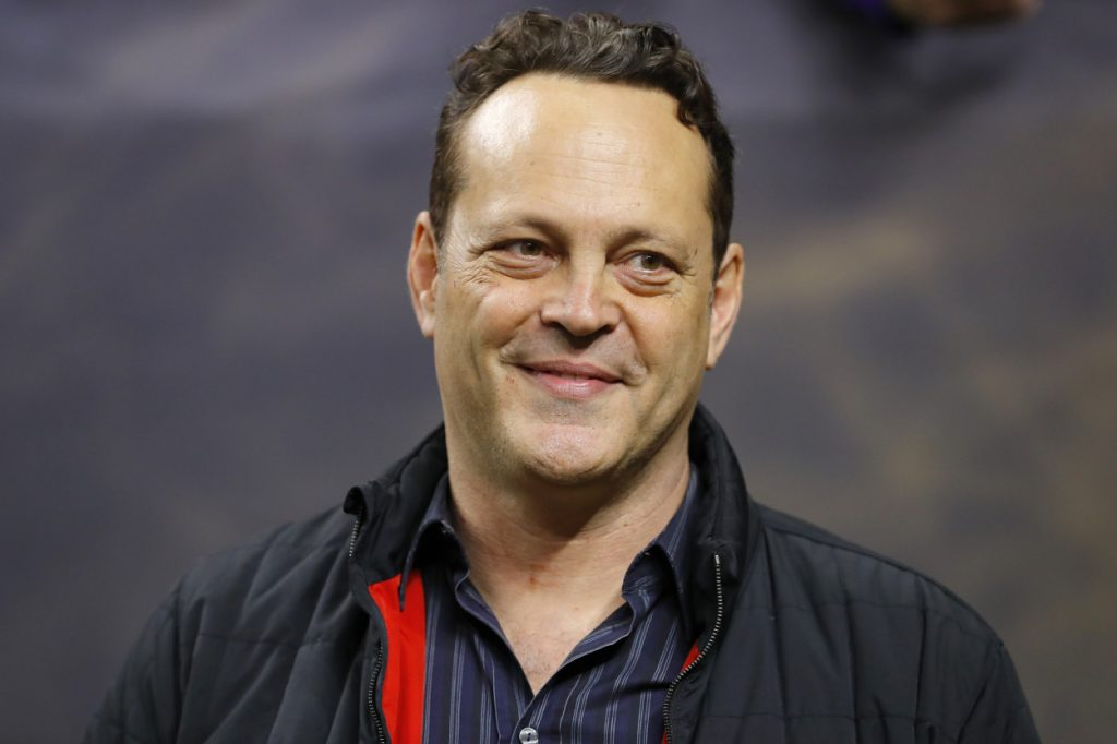 Vince Vaughn photographed attending a college football game