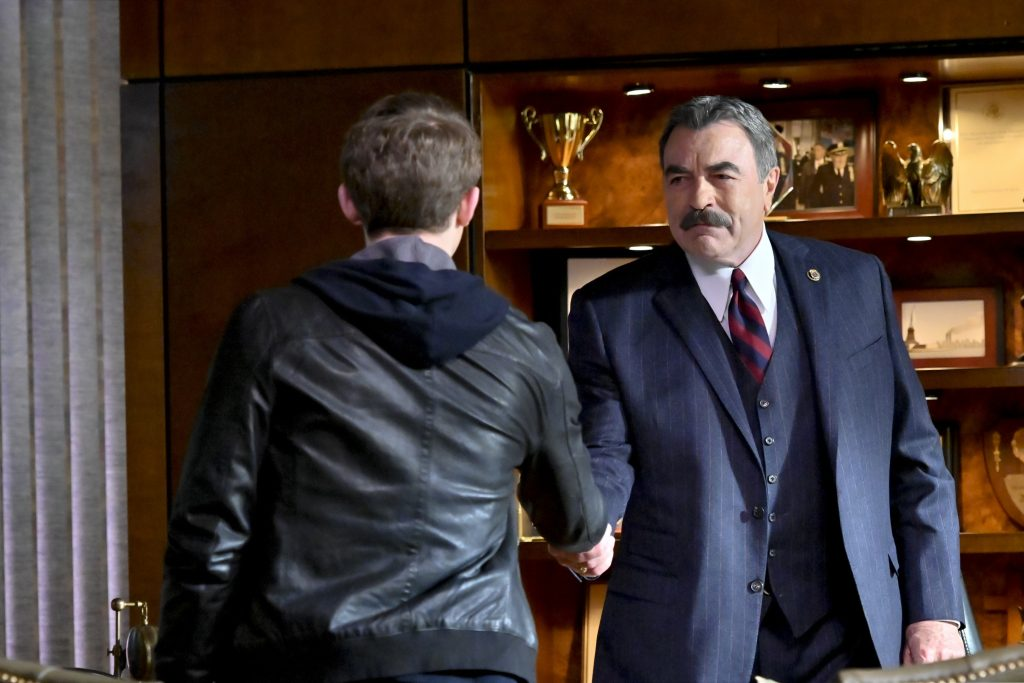 Will Hochman and Tom Selleck on the set of 'Blue Bloods' |  John Paul Filo/CBS via Getty Images