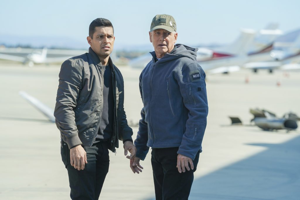 Wilmer Valderrama and Mark Harmon on the set of 'NCIS' | Sonja Flemming/CBS via Getty Images