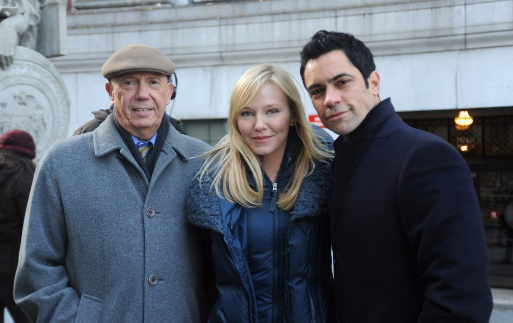 Dann Florek, Kelli Giddish and Danny Pino on the set of 'Law & Order: SVU'