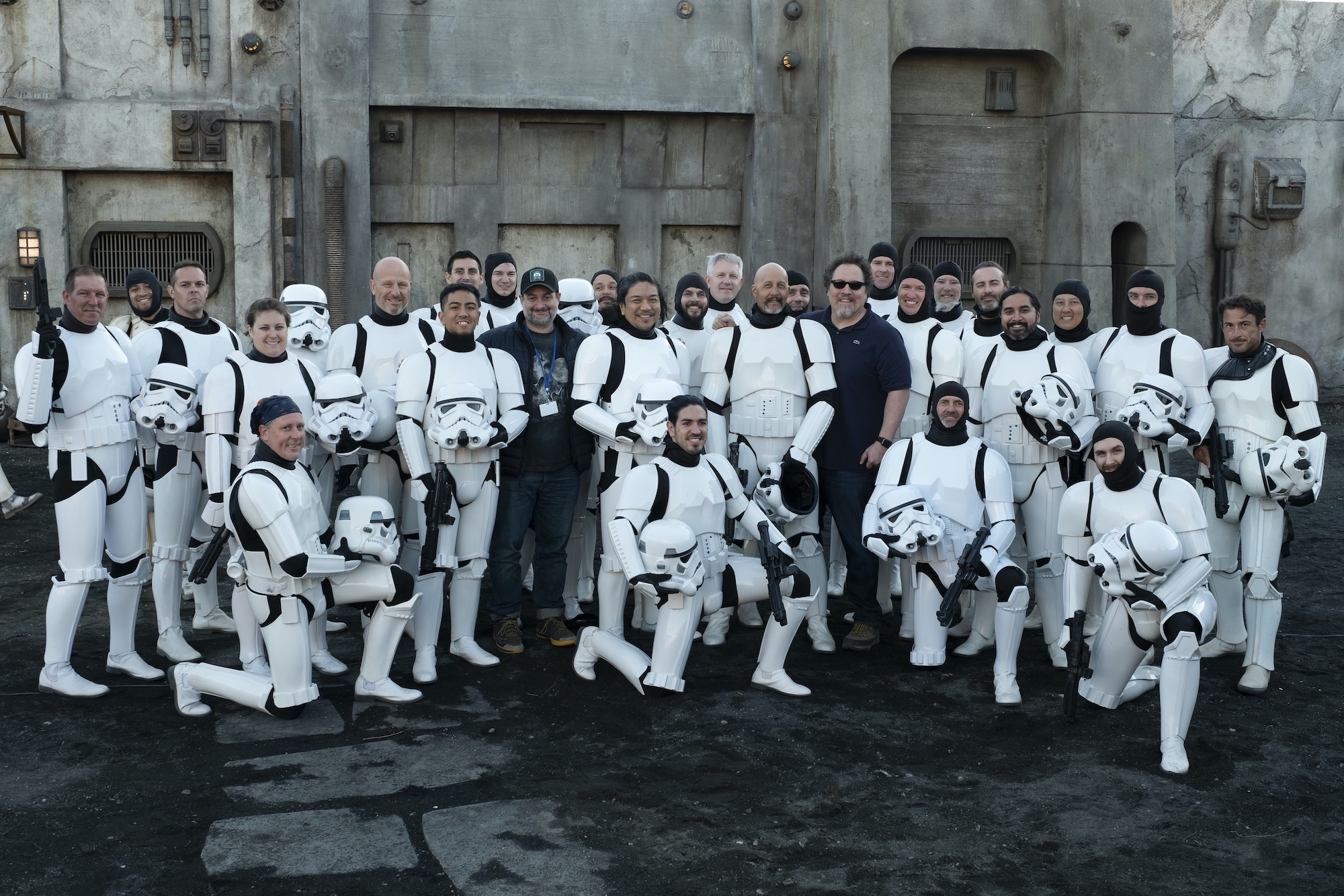 Dave Filoni and Jon Favreau with members of the 501st on the set of 'The Mandalorian'