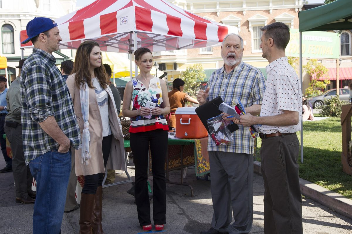 (L-R:) Scott Patterson, Lauren Graham, Alexis Bledel, Michael Winters, and Sean Gunn in 'Gilmore Girls: A Year in the Life'