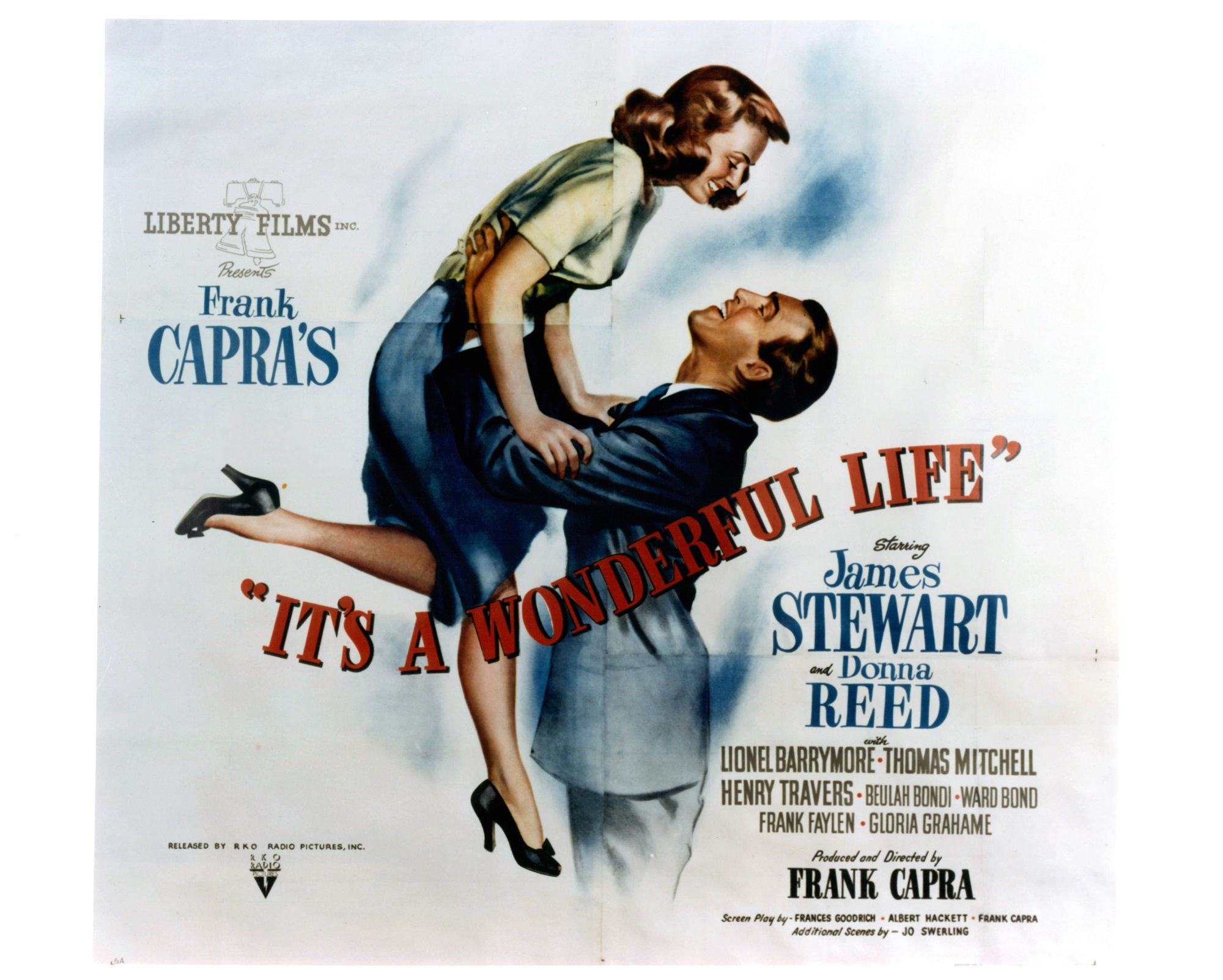 Donna Reed is lifted by James Stewart in movie art for the film It's A Wonderful Life