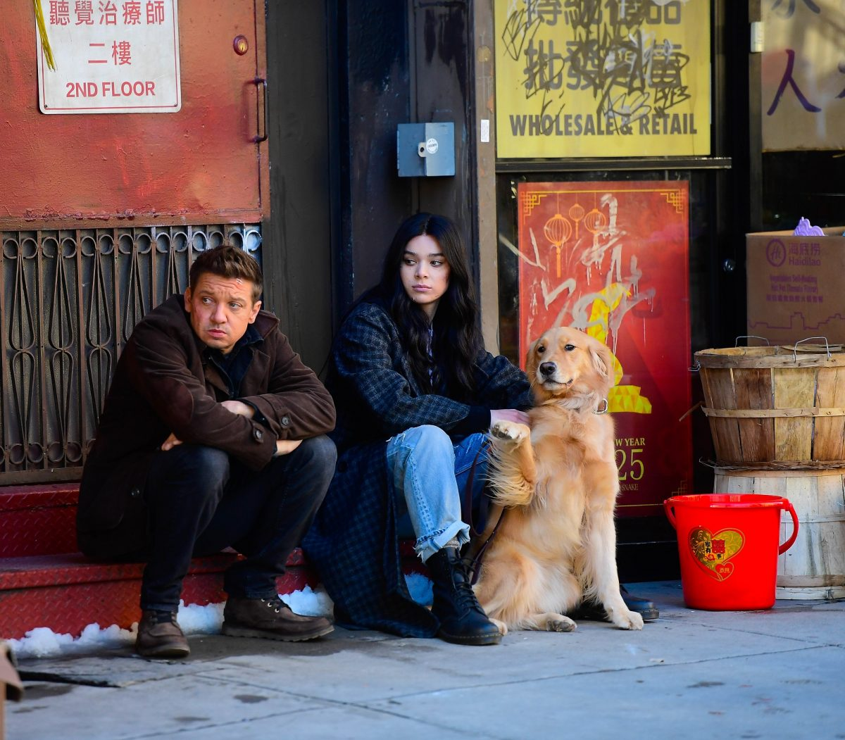 Jeremy Renner and Hailee Steinfeld are seen on the set of 'Hawkeye' in Chinatown on December 3, 2020 in New York City.