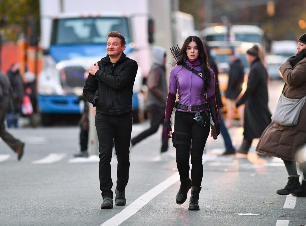 Jeremy Renner and Hailee Steinfeld seen on the set of 'Hawkeye' on December 8, 2020, in New York City.