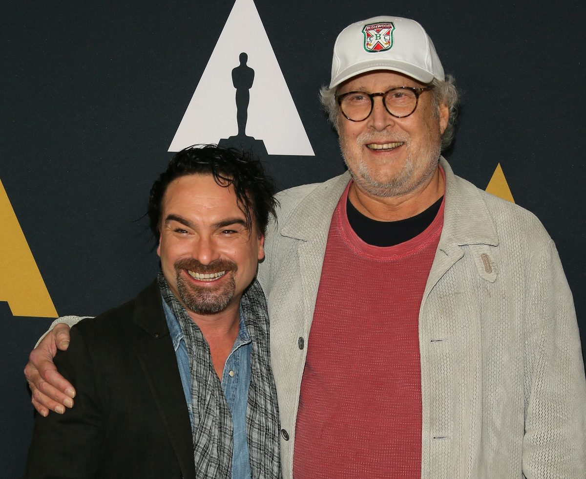 (L-R) Johnny Galecki and Chevy Chase attend the 30th Anniversary Screening of 'National Lampoons Christmas Vacation' on December 12, 2019.