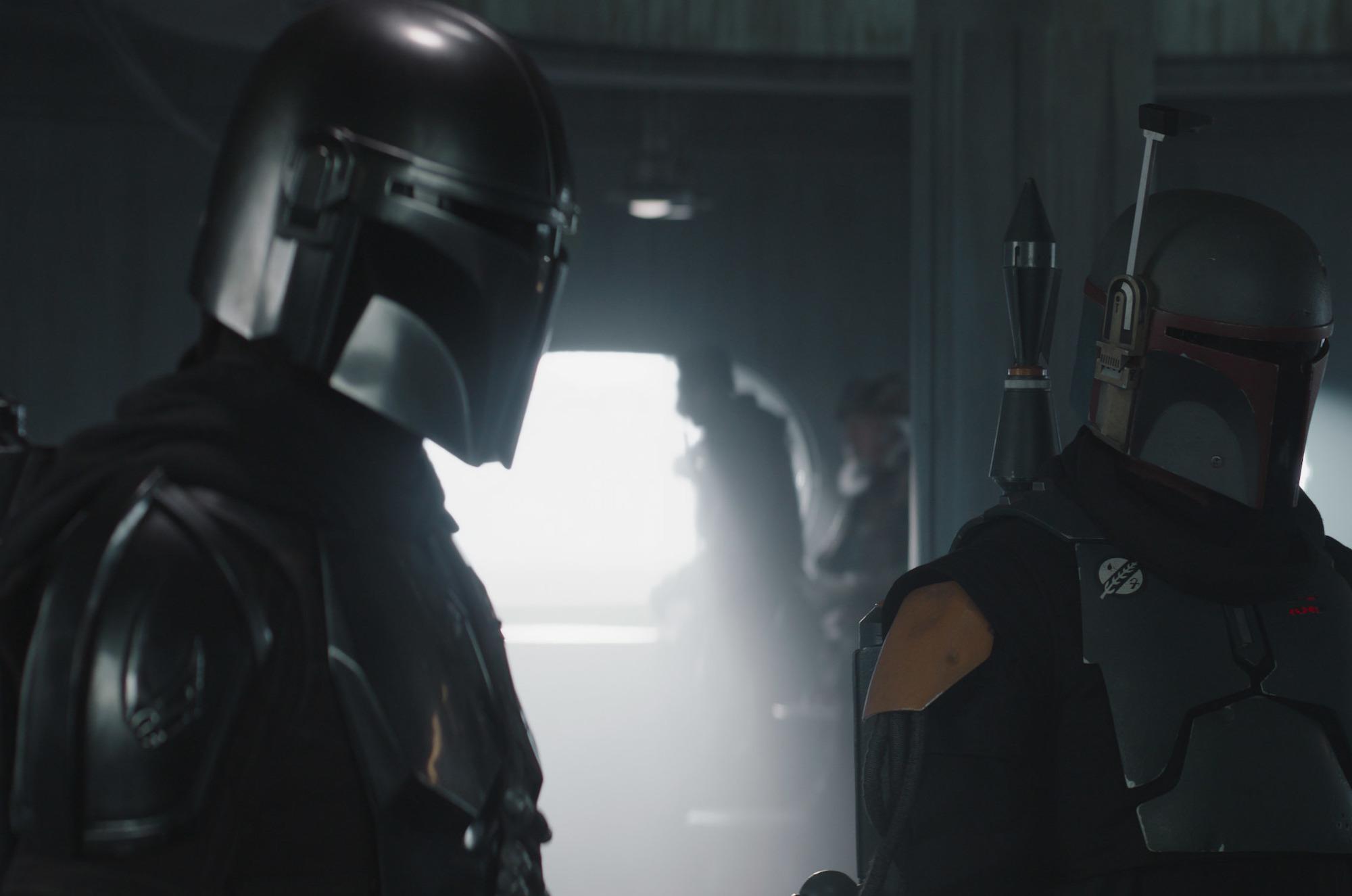 Mando and Boba Fett in 'The Mandalorian' Season 2 finale.