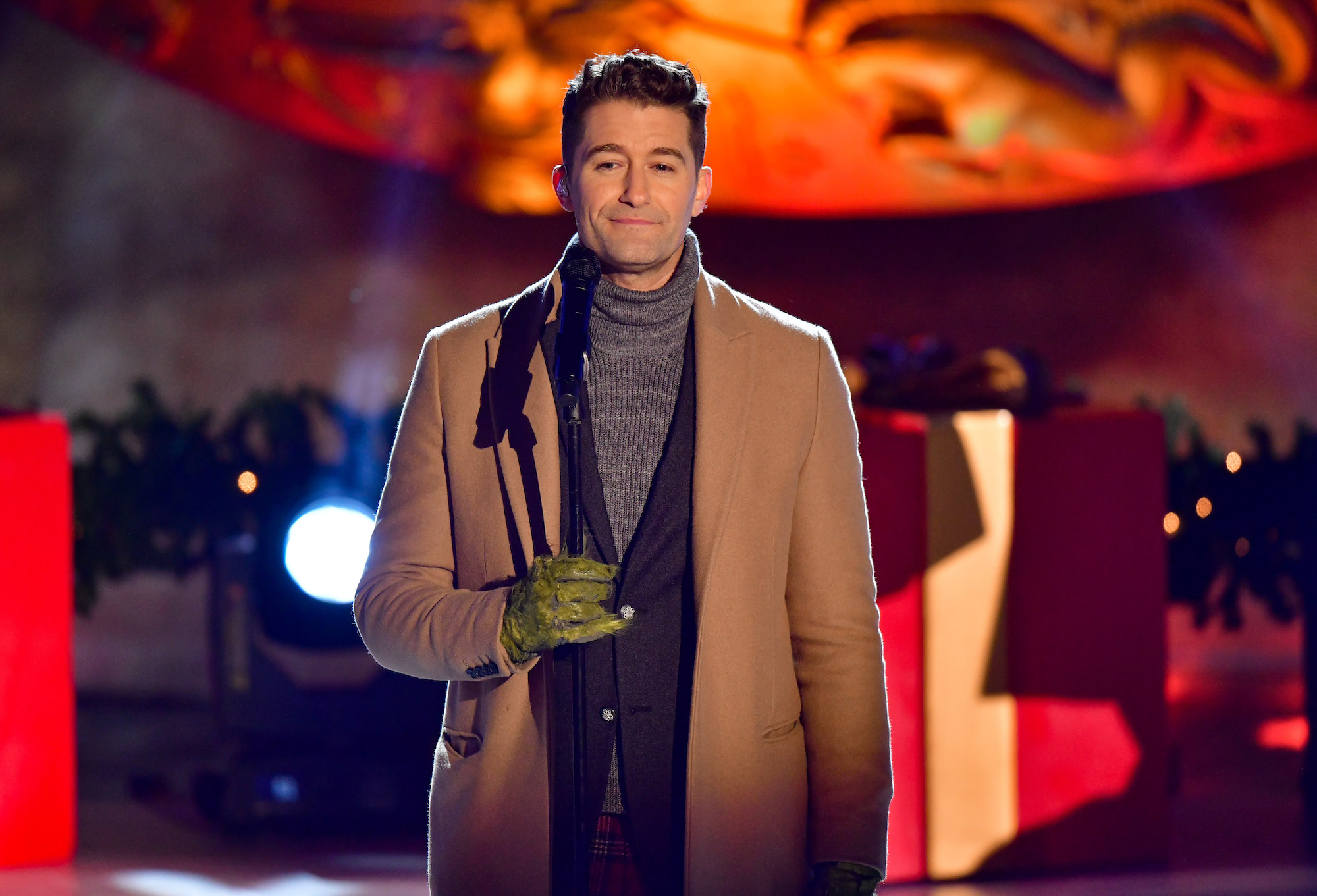 Matthew Morrison performs at the 88th Annual Rockefeller Center Christmas Tree Lighting on Dec. 1, 2020