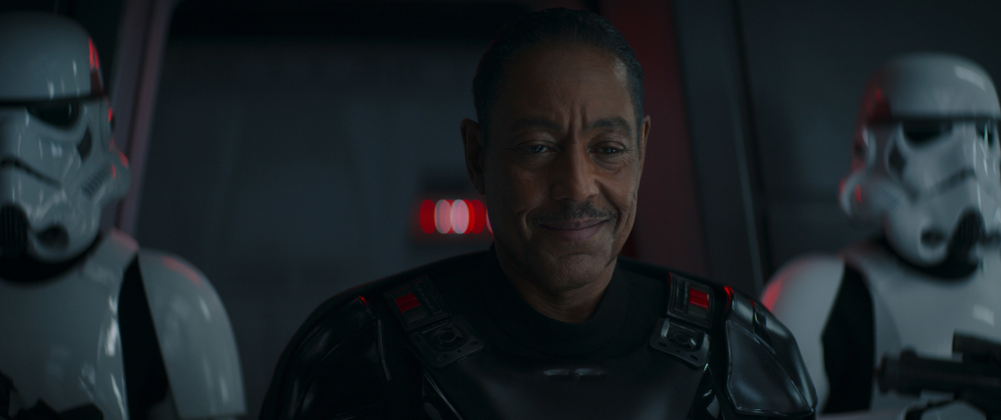 Moff Gideon looks at Grogu in shackles in 'The Mandalorian'