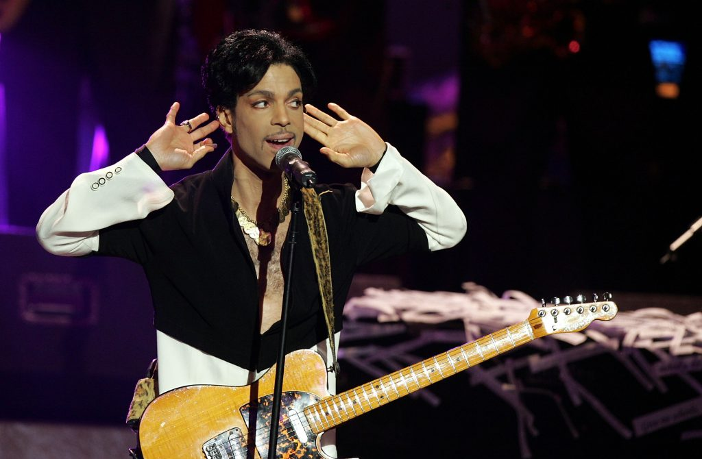 Prince with a guitar
