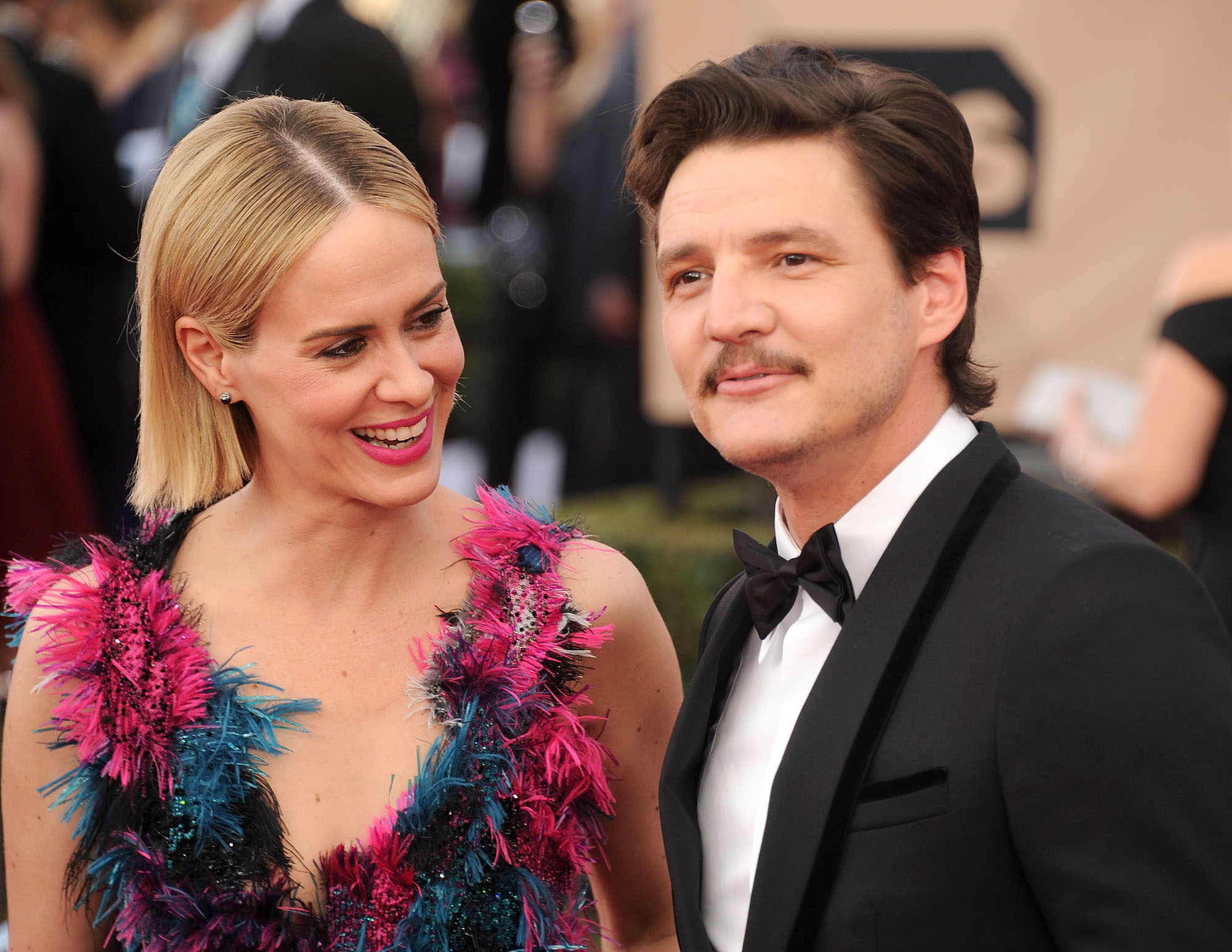 Sarah Paulson and Pedro Pascal at the 22nd Annual Screen Actors Guild Awards at The Shrine Auditorium on Jan. 30, 2016.