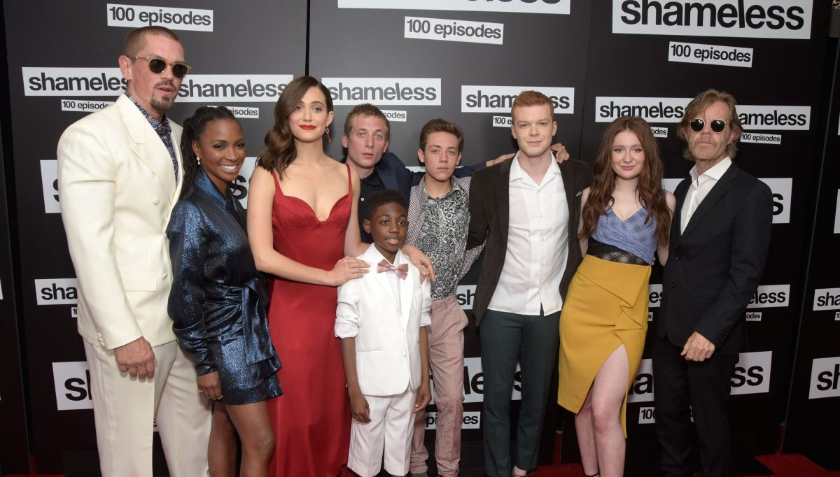 (L-R) Steve Howey, Shanola Hampton, Emmy Rossum, Jeremy Allen White, Christian Isaiah, Ethan Cutkowsky, Cameron Monaghan, Emma Kenney, and William H. Macy attend the 'Shameless' 100th episode celebration on June 9, 2018.