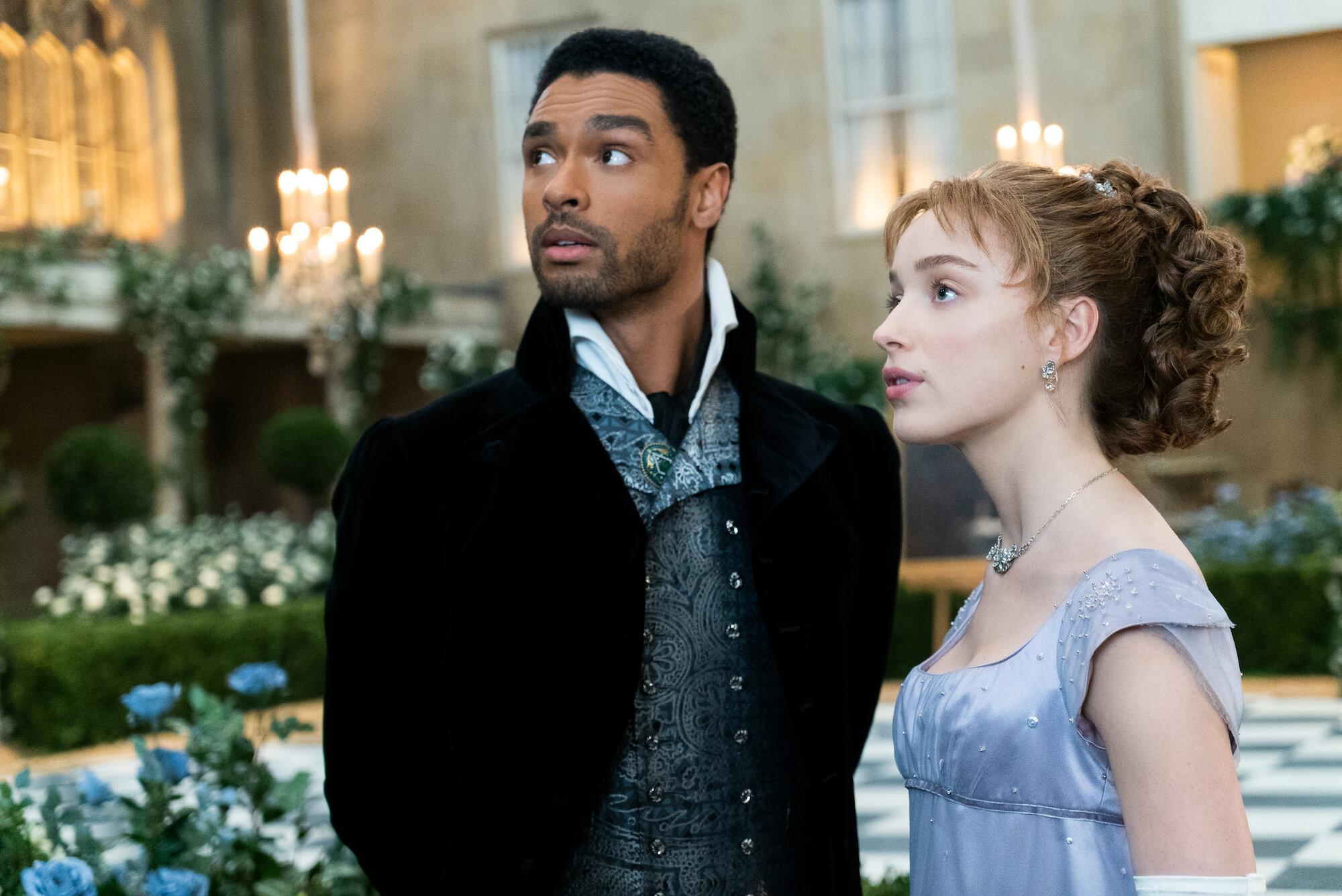 BRIDGERTON:  REGÉ-JEAN PAGE as SIMON BASSET and PHOEBE DYNEVOR as DAPHNE BRIDGERTON in episode 108