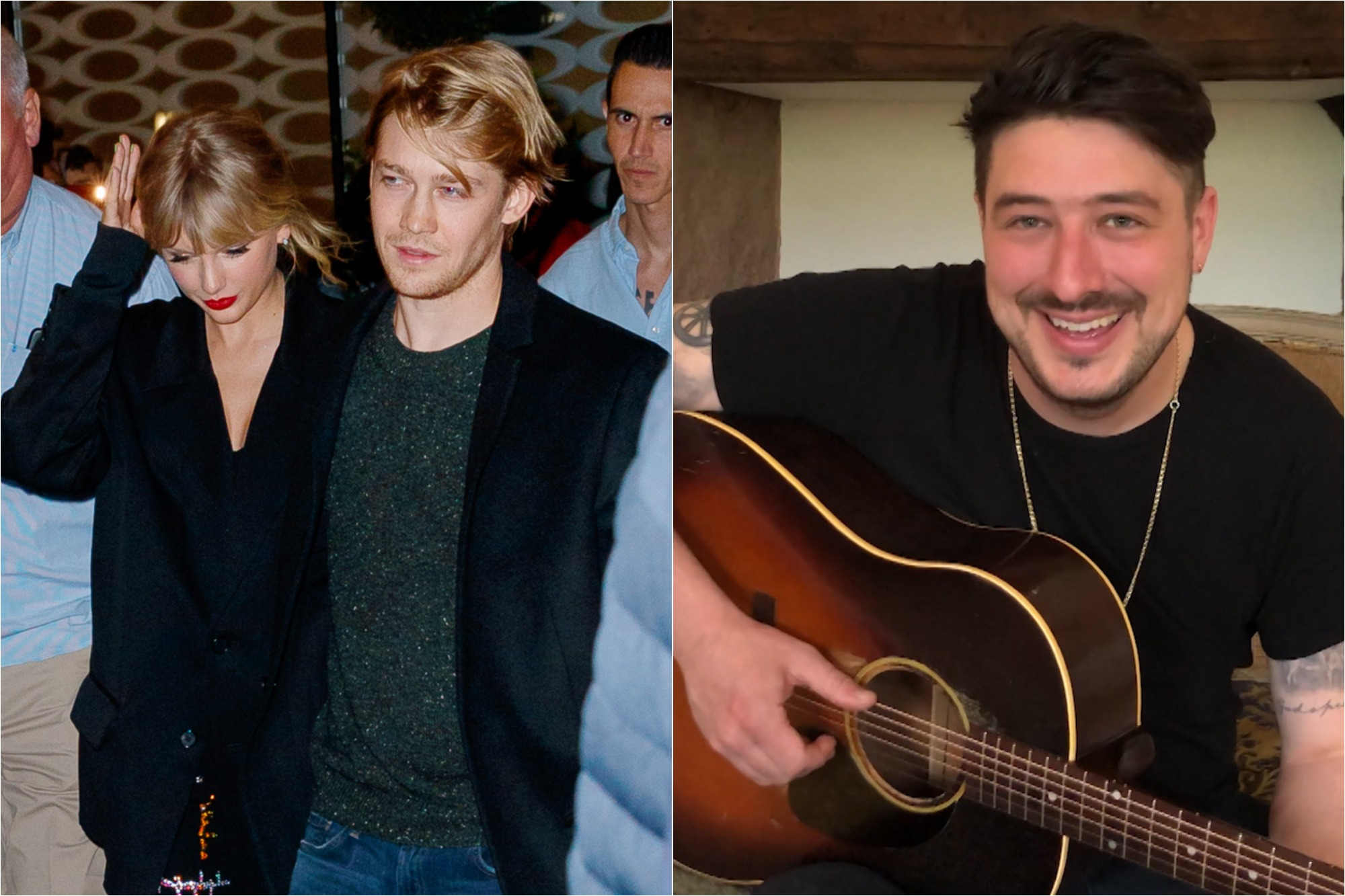 Taylor Swift and Joe Alwyn depart Zuma on Oct. 06, 2019 in New York City / Marcus Mumford on April 1, 2020 on the 'Tonight Show with Jimmy Fallon.'