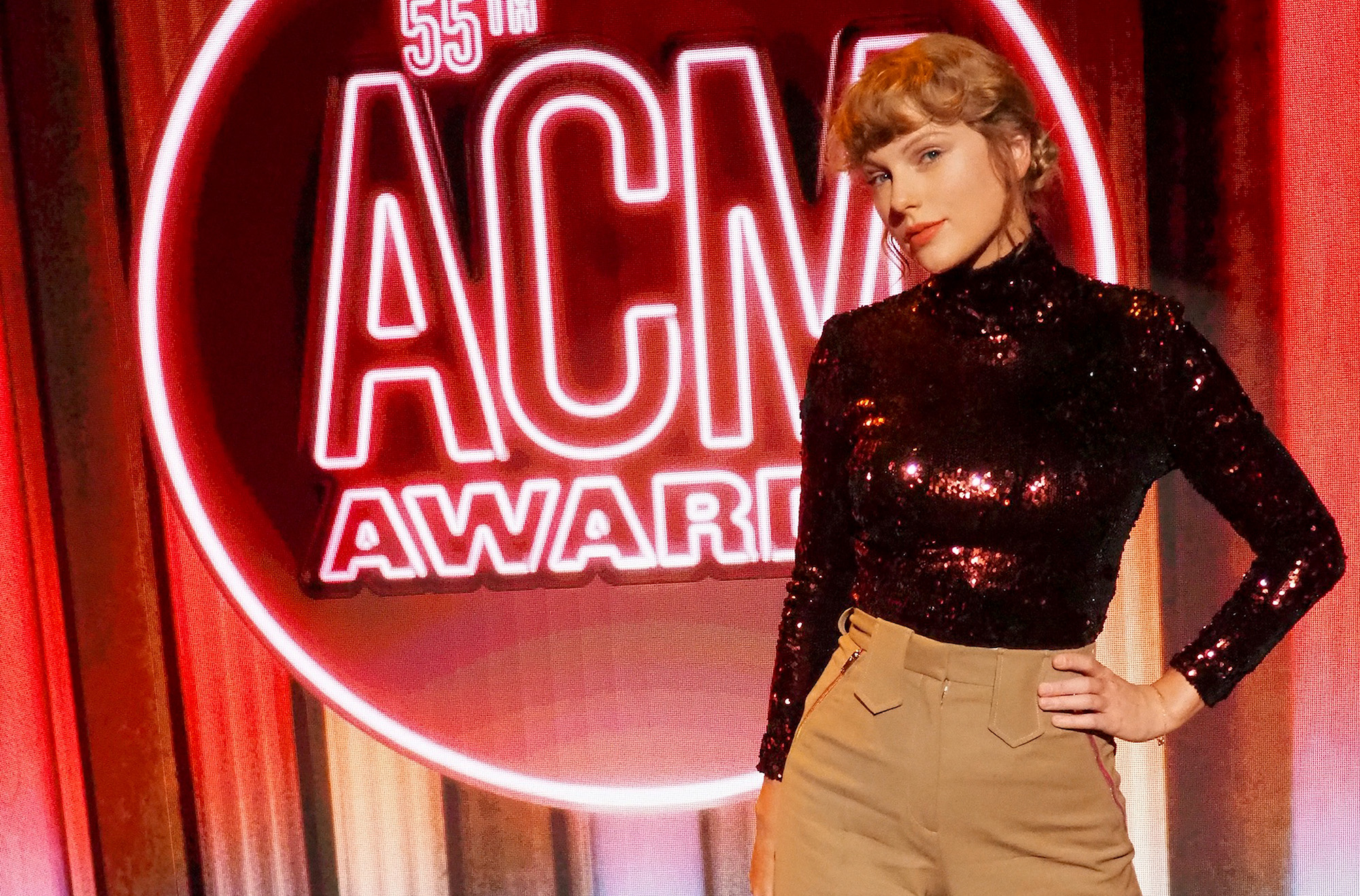Taylor Swift at the 55th Academy of Country Music Awards on Sept. 16, 2020