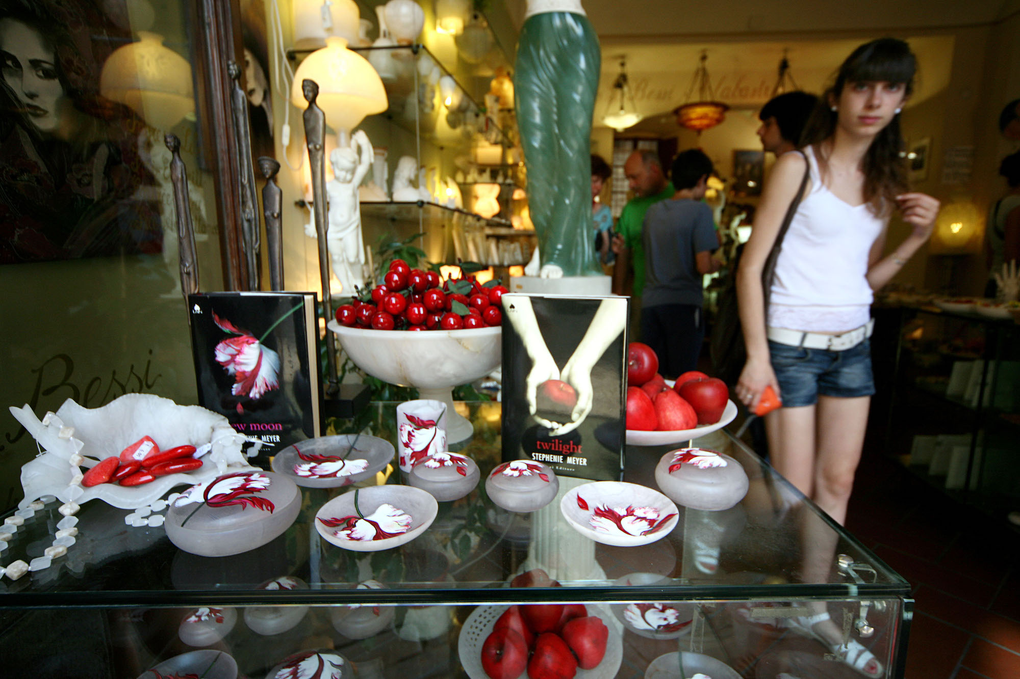 Tourists visit 'New Moon' and 'Twilight' merch stores on June 29, 2009 in Volterra, Italy, a place named in 'New Moon'