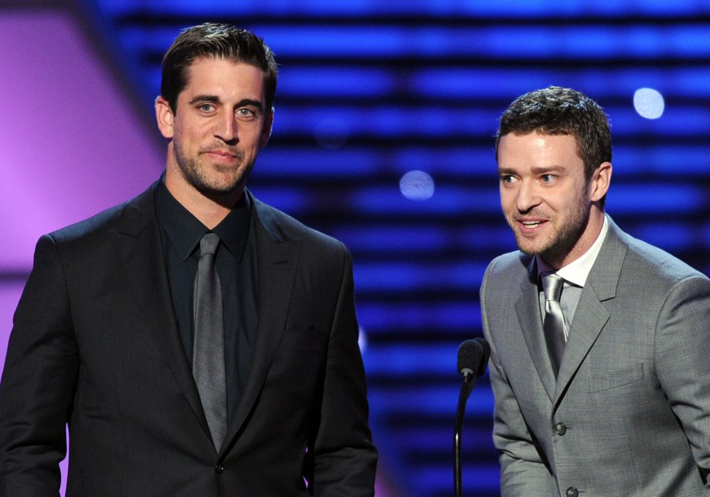 Aaron Rodgers and Justin Timberlake at the ESPYS