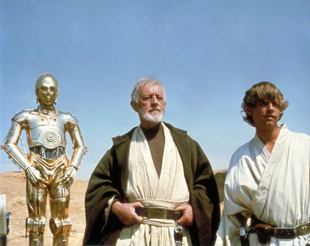 'Star Wars' actors Anthony Daniels, Alec Guinness, and Mark Hamill