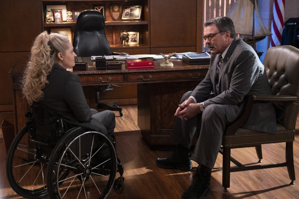 Ali Stroker as Detective Allison Mulaney and Tom Selleck as Frank Reagan   Patrick Harbron/CBS via Getty Images