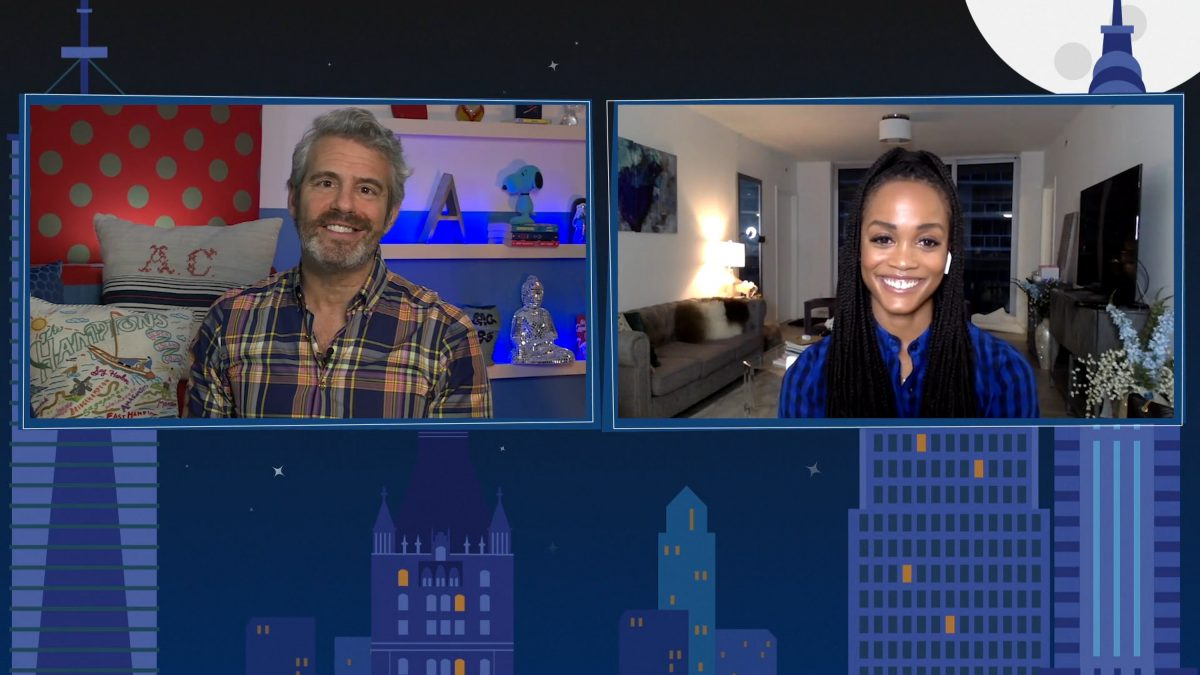 'Watch What Happens Live with Andy Cohen at Home' -- Episode 17102 -- Pictured in this screen grab: (l-r) Andy Cohen, Rachel Lindsay