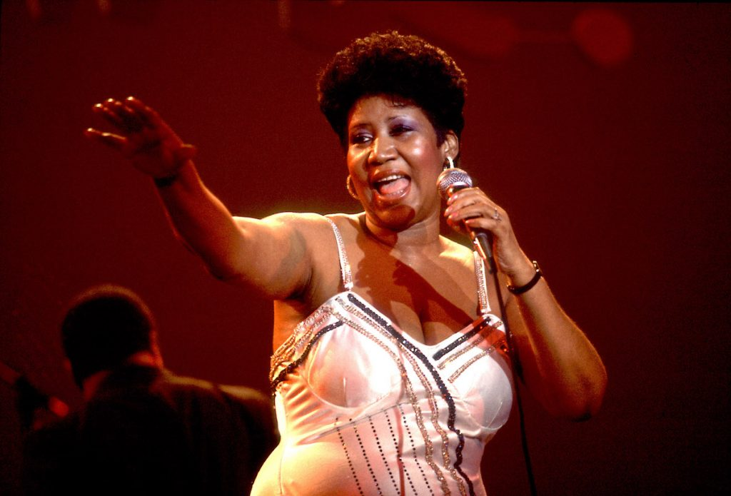 Aretha Franklin performs on stage at the Park West Auditorium, Chicago, Illinois, March 23, 1992.
