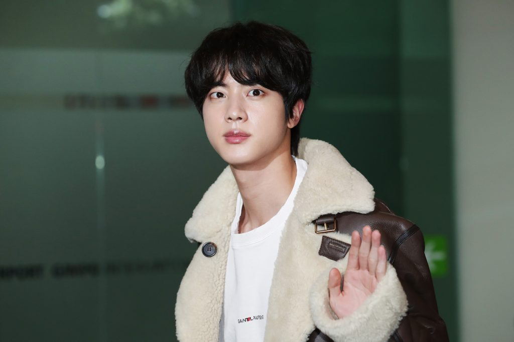 Jin of boy band BTS is seen on departure at Gimpo International Airport