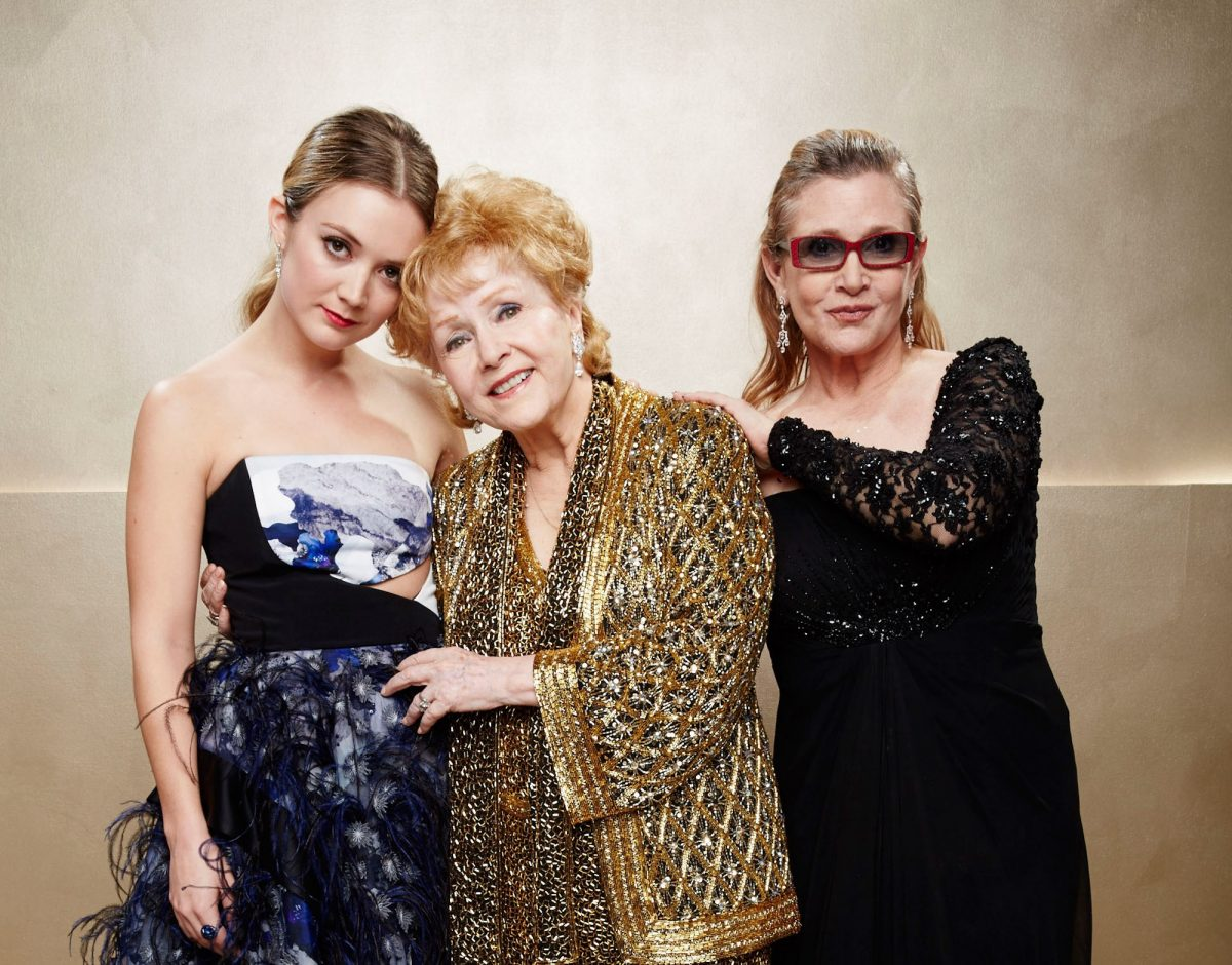 Billie Lourd, Debbie Reynolds, and Carrie Fisher