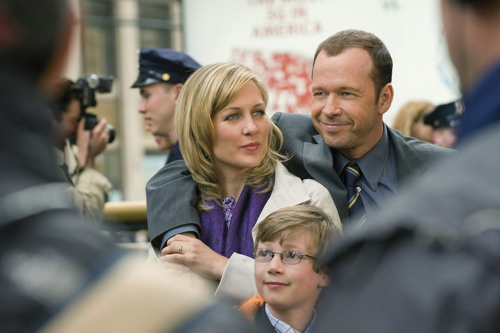 Amy Carlson as Linda and Donnie Wahlberg as Danny Reagan on 'Blue Bloods'