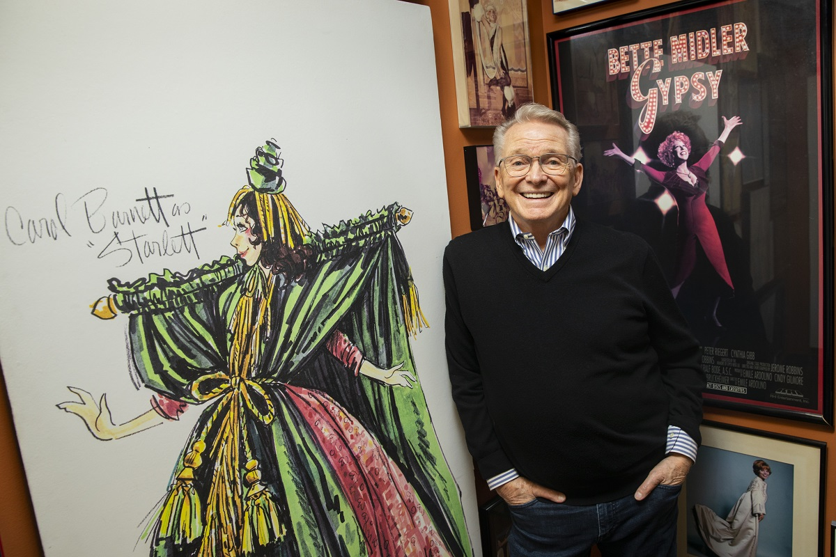 Bob Mackie with his dress design in 2019