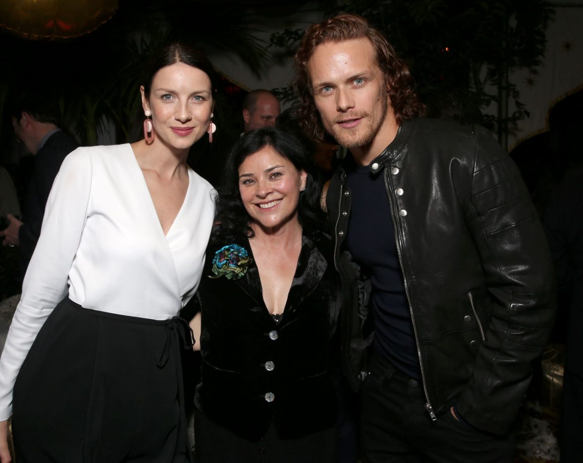 'Outlander' stars Caitriona Balfe and Sam Heughan with author Diana Gabaldon attend the Starz Pre-Golden Globe Celebration at Chateau Marmont on January 8, 2016