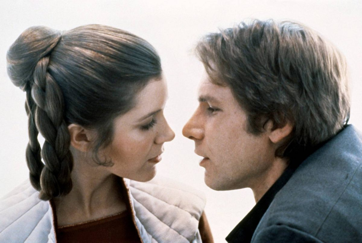 American actors Carrie Fisher and Harrison Ford on the set of Star Wars: Episode V - The Empire Strikes Back directed by Irvin Kershner.