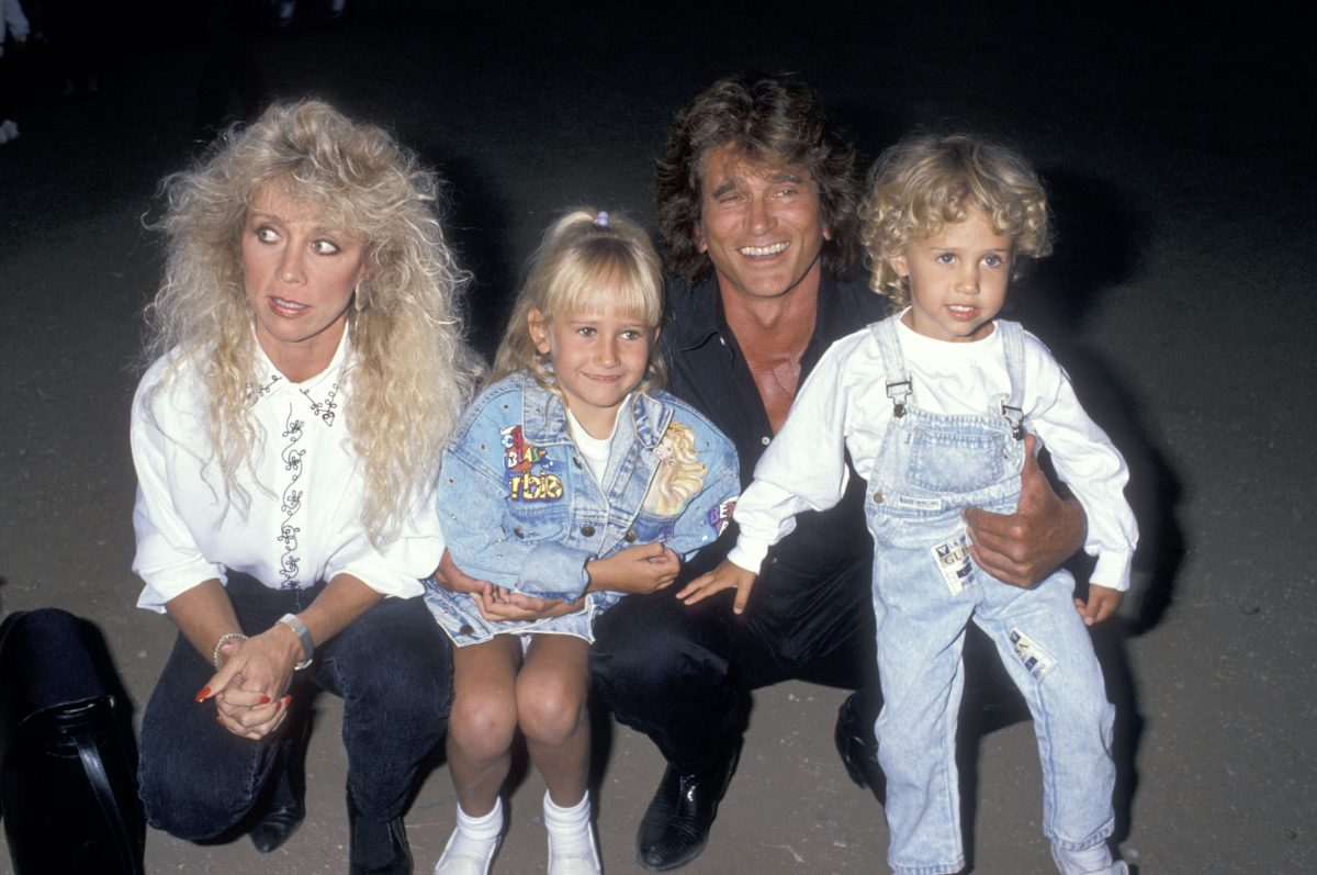 MALIBU,CA - JULY 29: Actor Michael Landon, wife Cindy Landon, daughter Jennifer Landon and son Sean Landon attend the Third Annual Moonlight Roundup Extravaganza to Benefit Free Arts for Abused Children on July 29, 1989 at the Calamigos Ranch in Malibu, California.