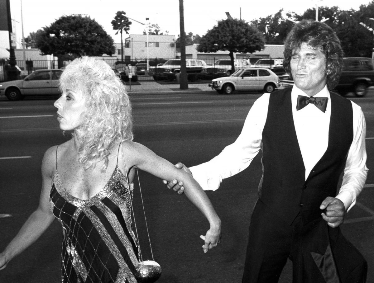 """Actor Michael Landon and wife Cindy Clerico attend the premiere of """"Sam's Son"""" on August 15, 1984 at the Academy Theater in Beverly Hills, California."""