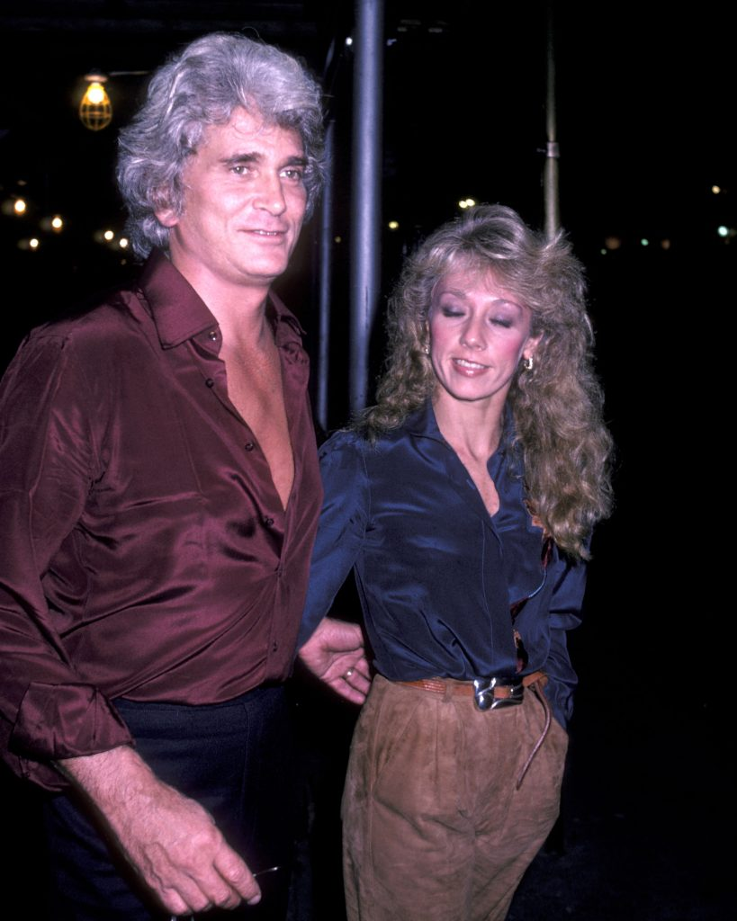 NEW YORK CITY - NOVEMBER 21: Actor Michael Landon and girlfriend Cindy Clerico on November 21, 1982 pose for photographs outside the Sherry Netherlands Hotel in New York City.