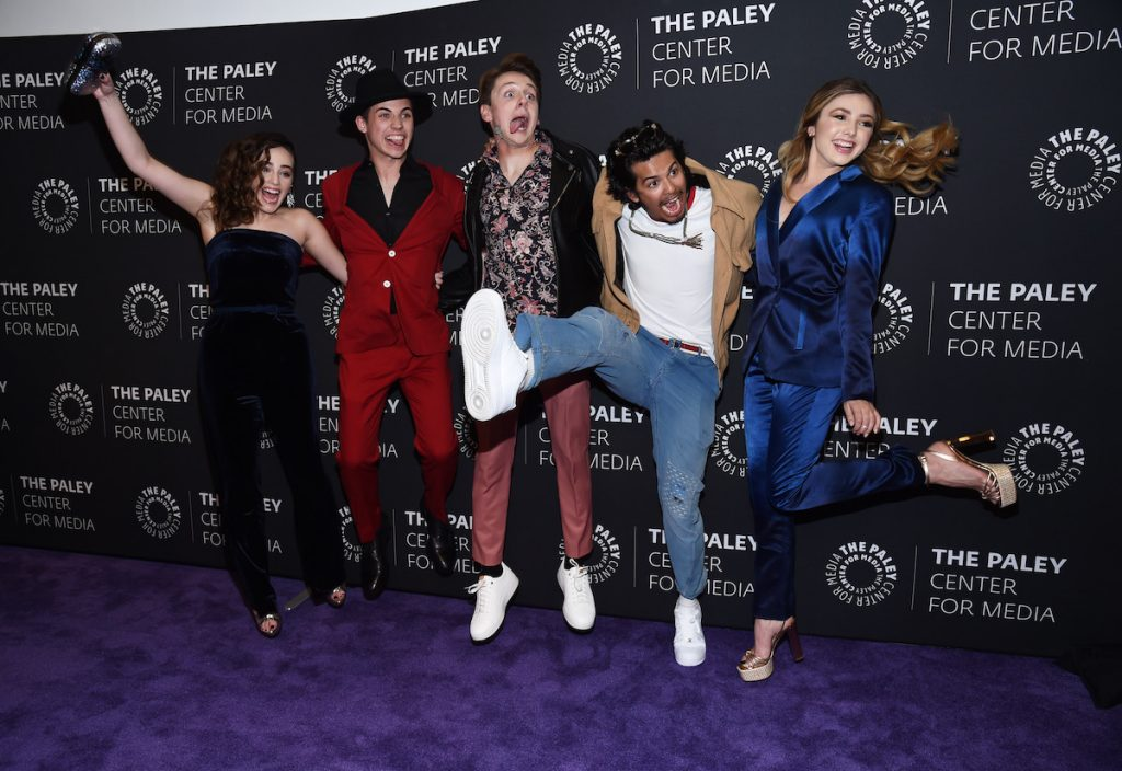 "Mary Mouser (left), Tanner Buchanan, Jacob Bertrand, Xolo Mariduena, and Peyton List attend the premiere screening and conversation of YouTube Original's ""Cobra Kai"" Season 2 at the Paley Center for Media on April 22, 2019, in Beverly Hills, California."