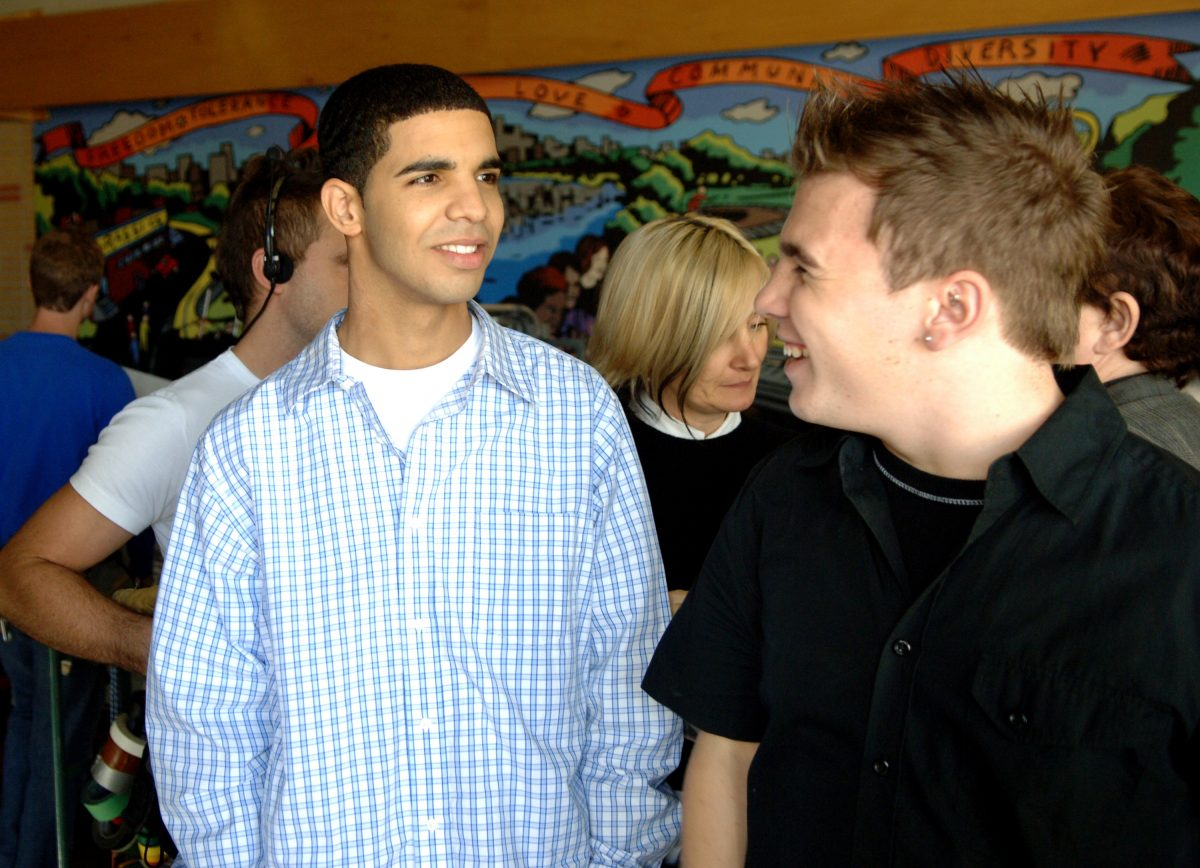 """Aubrey Graham (Jimmy) and Shane Kippel (Spinner) during """"Degrassi: The Next Generation"""" Celebrates 100th Episode at Degrassi High School Set in Toronto, Ontario, Canada"""