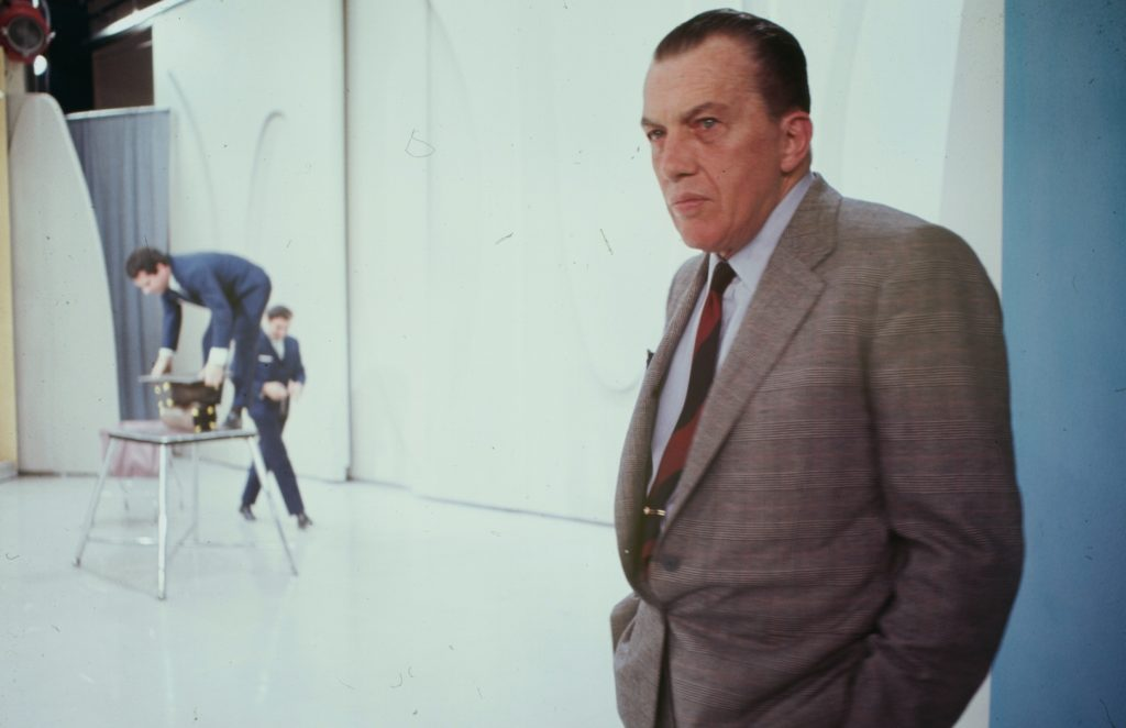 Portrait of television show host Ed Sullivan on the set of its 20th anniversary performance, 1967